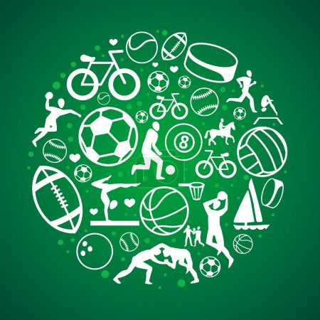 Illustration for Vector round concept with sport icons and signs - healthy life-style - Royalty Free Image