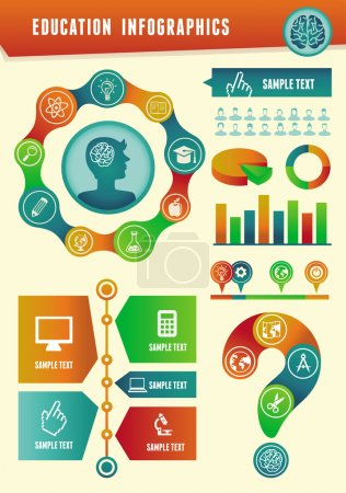 Illustration for Vector education infographics with design elements and icons - Royalty Free Image