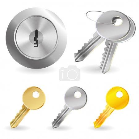 Illustration pour Ensemble vectoriel avec clés et serrure - concept de sécurité - image libre de droit
