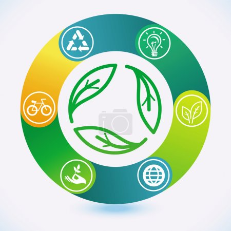 Illustration for Vector ecology concept - infographic design elements and icons - Royalty Free Image