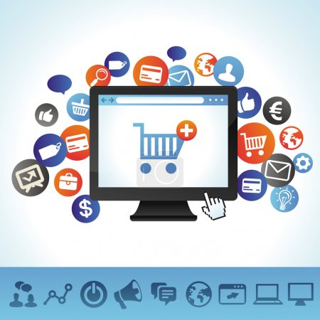 Photo for Vector online shopping concept - computer and techology icons - Royalty Free Image