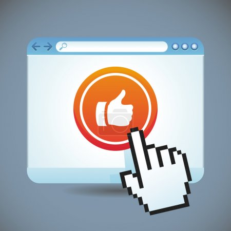 Vector social media concept - browser window with ...