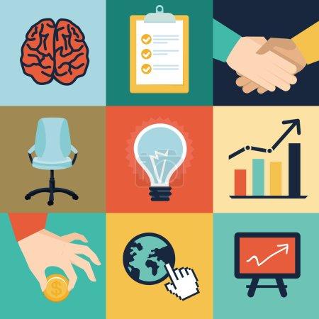 Photo pour Icônes et illustrations vectorielles d'affaires et de bureau - concept de start-up dans un style rétro plat - image libre de droit