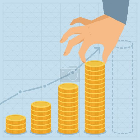 Illustration for Vector financial business plan - hand holding golden coin in flat retro style - Royalty Free Image