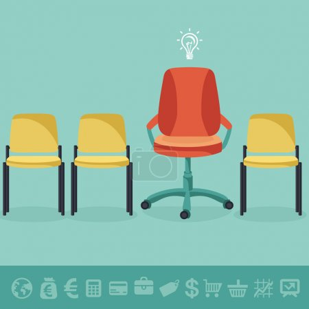 Vector office concept - office chairs in flat retr...