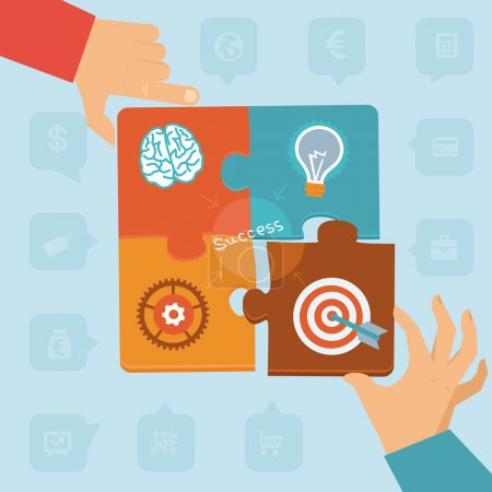 Illustration for Vector start up success - puzzle peaces with icons and signs - Royalty Free Image