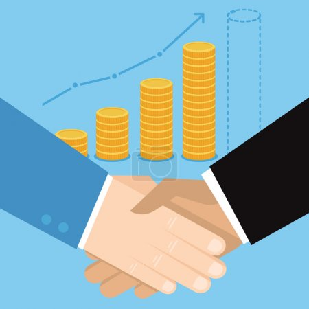 Illustration for Vector business concept in flat style - hand shake and coins - Royalty Free Image