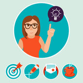 Vector woman character with sign and symbols - internet marketing concept in flat modern style