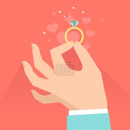 Illustration pour Carte de vœux de Saint Valentin vectorielle en style plat - mains masculines tenant la bague de fiançailles en style plat - image libre de droit