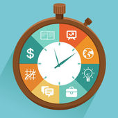 Vector flat concept - time management Modern illustration with stopwatch and icons - how to control your life
