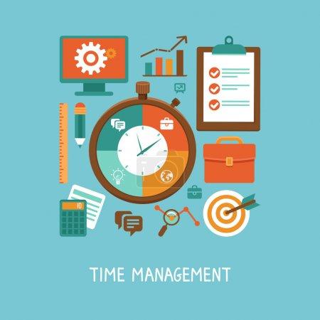 Illustration pour Concept vectoriel en style plat - gestion du temps. Icônes et signes - organisation de la vie et du flux de travail - image libre de droit