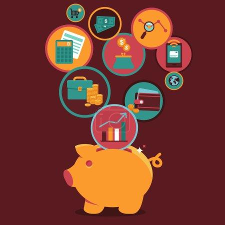 Illustration pour Vector Personal Finance Contrôle et gestion - icônes et signes en style plat - image libre de droit