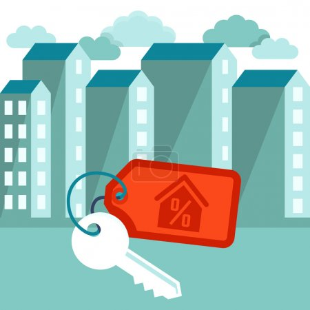 Illustration for Vector illustration in flat trendy style - mortgage concept - houses icons and keys with label - Royalty Free Image