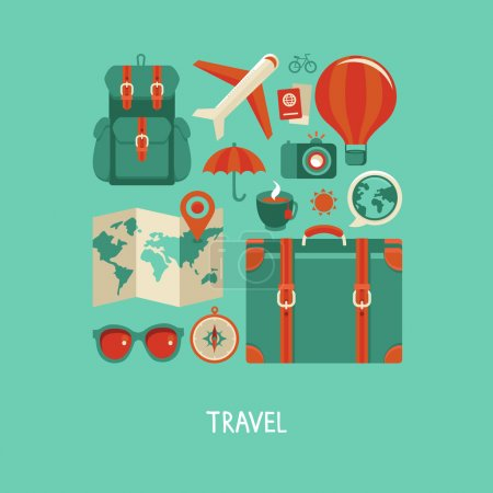 Illustration for Vector icons and concepts in flat style - travel and vacation, Trendy banners and signs - summer and journey - Royalty Free Image