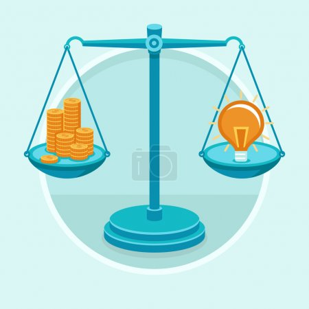 Illustration for Idea is money - vector concept in flat style - golden coins and idea on the weigher - Royalty Free Image
