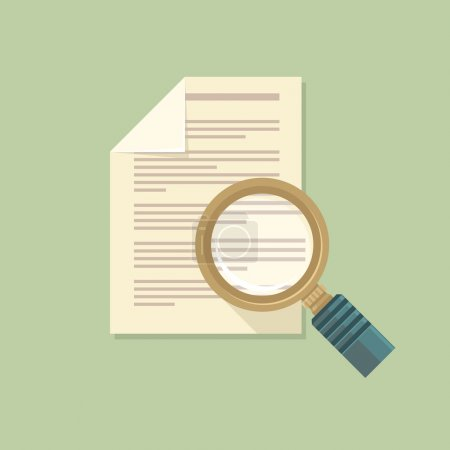 Illustration for Vector icon in flat style - magnifier and paper document - Royalty Free Image
