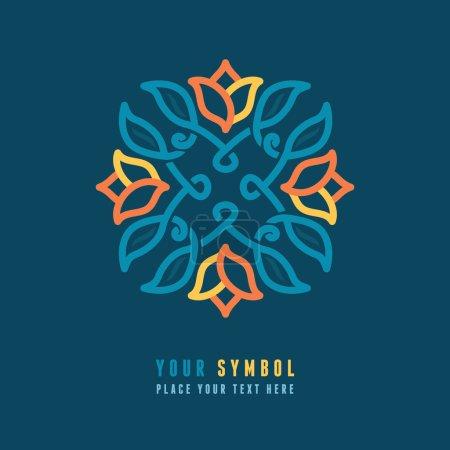 Illustration for Vector abstract emblem - outline monogram - floral design element - Royalty Free Image