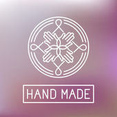Vector hand made label in outline trendy style - hands icon and text