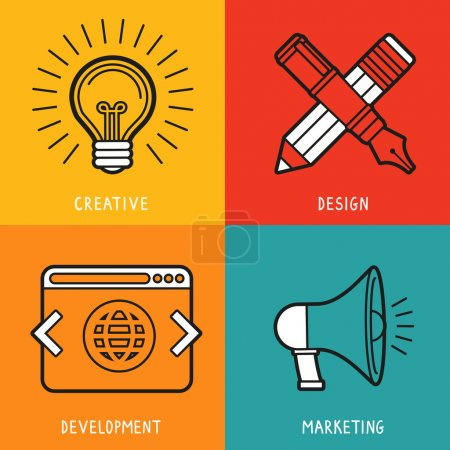 Illustration for Vector business services icons in outline flat style - marketing, creative idea, design and deveopment - Royalty Free Image