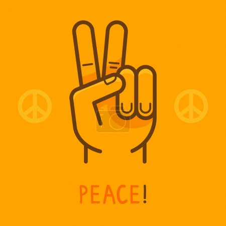 Illustration for Vector peace sign - hand showing two fingers - modern flat illustration on yellow background - Royalty Free Image
