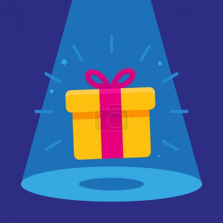 Illustration for Vector surprise concept - gift icon in the spotlight - winning banner - Royalty Free Image