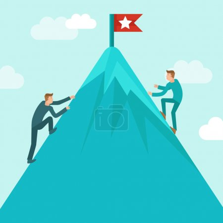 Illustration for Vector business competition concept in flat style - business man climbing up the mountain to achieve success - Royalty Free Image