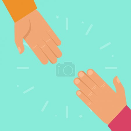 Illustration for Vector helping hands in flat style - charity and support concept - Royalty Free Image
