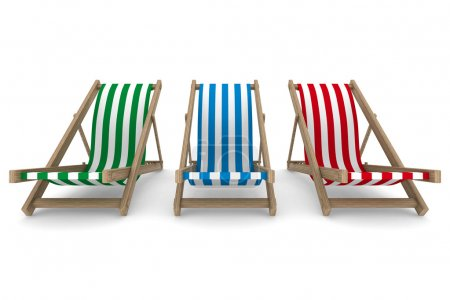 Photo for Three deckchair on white background. Isolated 3D image - Royalty Free Image