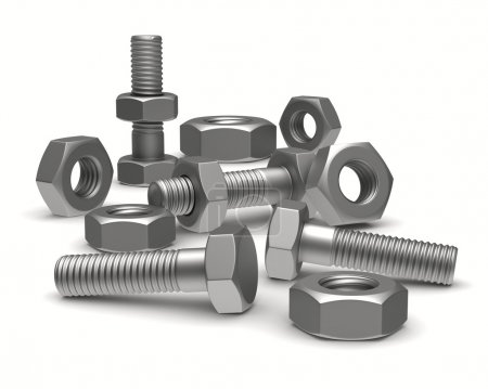 Bolts and nuts on white background. Isolated 3D image