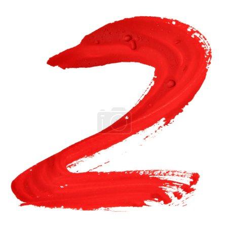 Photo pour Deux - Chiffres manuscrits rouges sur fond blanc - image libre de droit