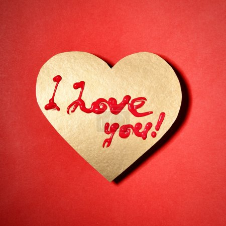 """Photo for Text """"I love you"""" on paper heart - Royalty Free Image"""