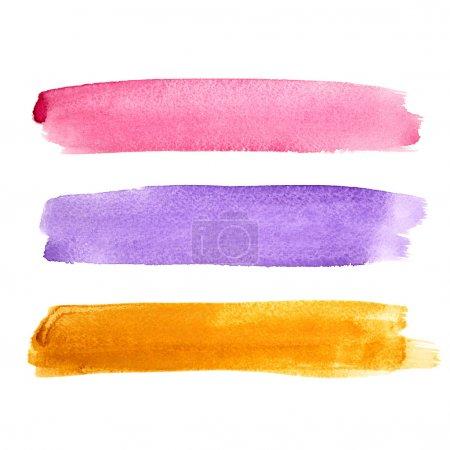 Photo pour Série de coups de pinceau aquarelle coloré - image libre de droit