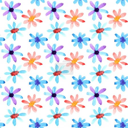 Photo for Colorful watercolor flowers seamless pattern - Royalty Free Image