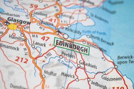 Photo for Edinburgh on a map - Royalty Free Image