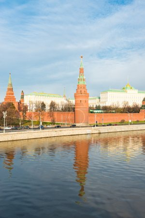 An embankment of Moscow Kremlin is in Russia. Sunset