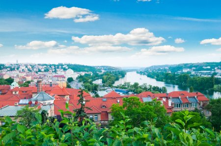 view of Prague city and Vltava river from Vysehrad hill