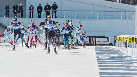 Biathletes before firing line