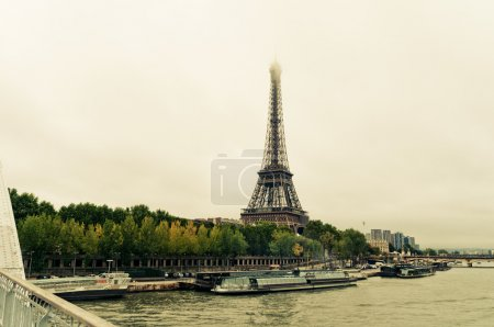 """View of the Eiffel Tower and bridge """"Pont d'Elena"""""""