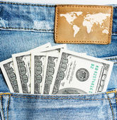 U.S. dollars in the back jeans pocket
