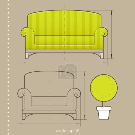 Ilustración de Diseño de muebles - Imagen libre de derechos