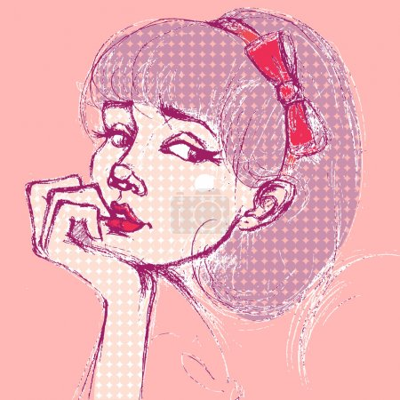 Anxious girl. retro. pop art style
