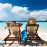Couple on a tropical beach at Maldives...