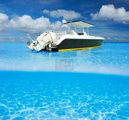 Beach and motor boat