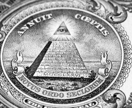 Photo pour Gros plan du joint au verso d'un billet d'un dollar. - image libre de droit
