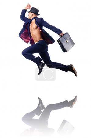 Naked businessman jumping on white