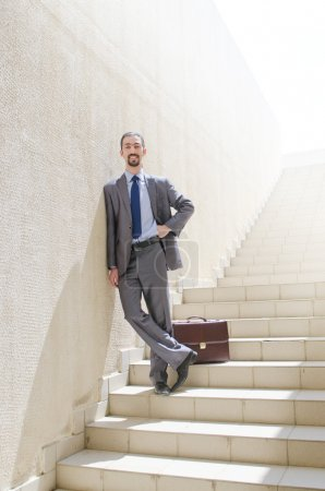 Photo for Businessman with stair in business concept - Royalty Free Image