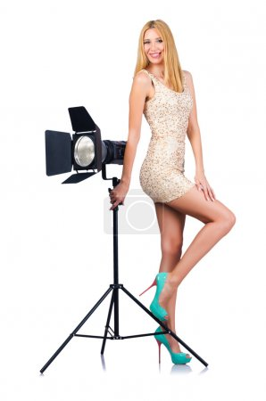 Photo for Attrative woman in photo studio - Royalty Free Image