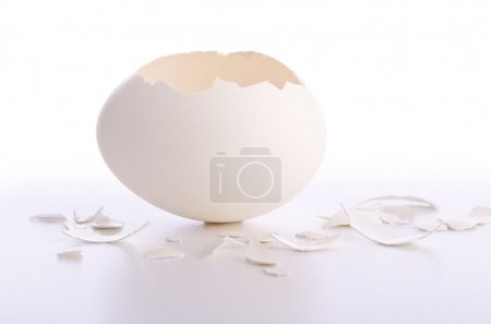 Photo for Broken egg isolated on the white - Royalty Free Image