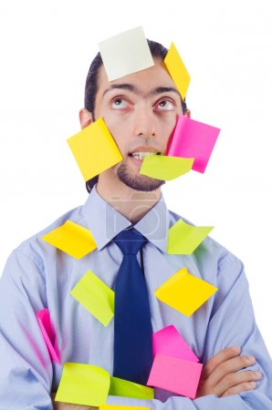 Photo for Man with lots of reminder notes - Royalty Free Image