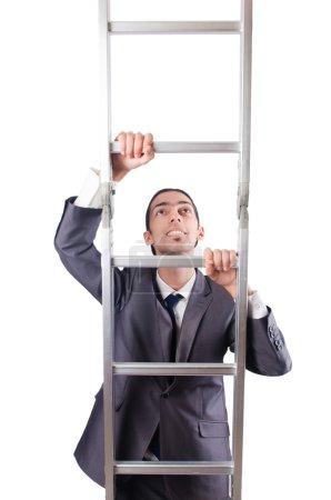 Photo pour Homme d'affaires grimpant l'échelle isolé sur blanc - image libre de droit
